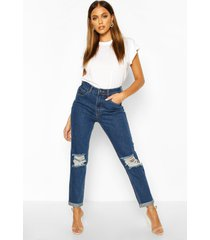 mid rise light blue open knee boyfriend jeans, dark wash