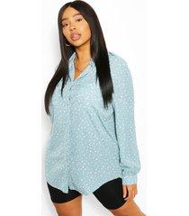 plus utility shirt met vlekkenprint, blauw
