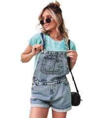 macaquinho jeans in love jardineira garden azul - jeans - feminino - dafiti