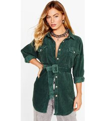 womens going according to plan belted longline jacket - green