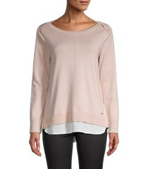 calvin klein women's embellished boat neck top - blush - size xs