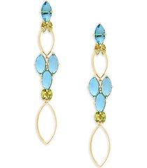 18k yellow gold & multi-stone drop earrings
