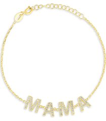 chloe & madison women's 18k goldplated sterling silver & cubic zirconia mama chain bracelet