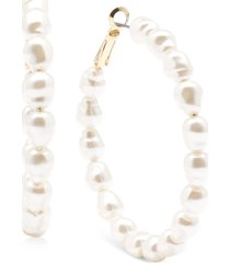 "zenzii gold-tone medium imitation pearl hoop earrings, 2"""