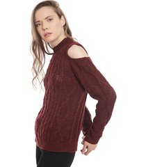 sweater 7.5 setepontocinco off shoulder braids knit burdeo - calce regular
