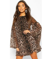 leopard mesh smock dress, brown