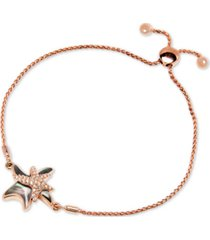 marahlago black mother-of-pearl & white sapphire (1/3 ct. t.w.) starfish bolo bracelet in rose gold-plated sterling silver