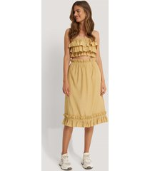 na-kd boho kjol med volangdetalj - yellow