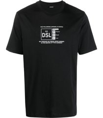 diesel t-just-a35 reflective logo t-shirt - black