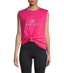 dkny women's logo knotted tank top - beetroot - size m