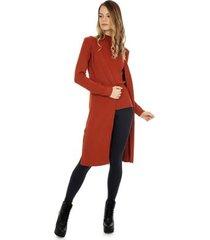 casaco longo pink tricot canelado com fendas nas laterais feminino