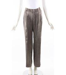 gucci gold silver silk textured high waist pants silver/gold sz: s