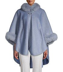 made for generation dyed fox fur-trim cape