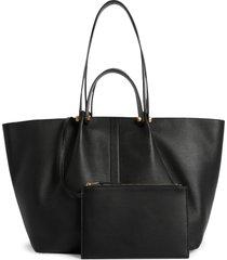 allsaints allington east/west leather tote bag & removable pouch - black