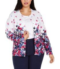 karen scott plus size floral-print cardigan, created for macy's
