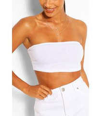 recycled basic bandeau top, white