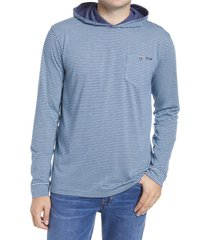 men's johnnie-o grimes stripe hooded pullover, size xx-large - blue