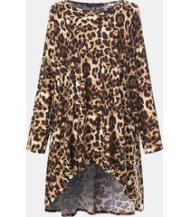 camicetta a maniche lunghe con stampa leopardata irregolare per donna