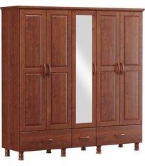roupeiro 5 portas 3 gavetas e 1 espelho finestra linha bronze cor imbuia