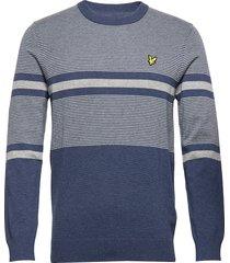 placement stripe knitted jumper stickad tröja m. rund krage blå lyle & scott