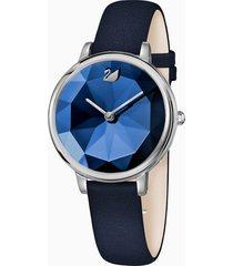 orologio crystal lake, cinturino in pelle, azzurro, acciaio inossidabile