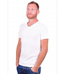 alan red t-shirt dean deep v-neck white ( 2 pack)