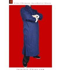 100% cotton blue kung fu martial arts tai chi long coat robe tailor custom made