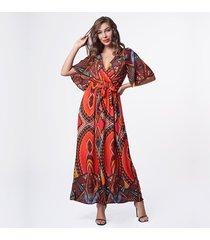vestido de playa con cuello de pico para mujer - rojo