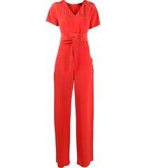 aspesi tie-waist jumpsuit - red