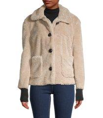 philosophy women's faux fur jacket - natural - size l