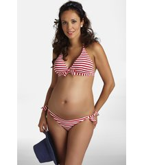 pez d'or stripe two-piece maternity swimsuit, size x-large in red at nordstrom