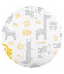 lençol americano bebê com elástico branco e amarelo bichinhos - fisher price - tamanho único - branco