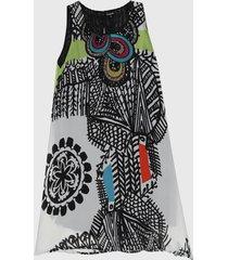 vestido blanco-negro-multicolor desigual