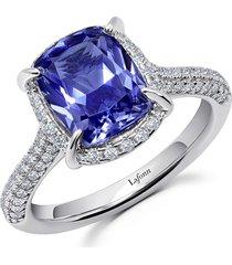 women's lafonn halo simulated diamond & tanzanite cushion ring