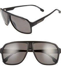carrera eyewear 62mm oversize polarized flat top aviator sunglasses in matte black at nordstrom