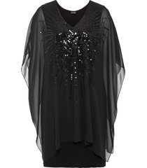 abito di jersey con chiffon (nero) - bodyflirt