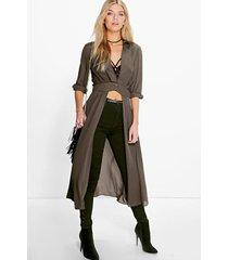 maxi blouse met split en laag uitgesneden decolleté, kaki