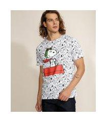 camiseta masculina snoopy estampado manga curta gola careca branca