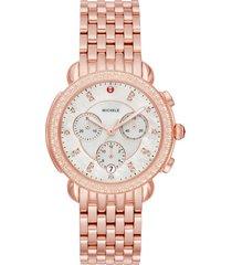 women's michele sidney 18 chronograph diamond watch head & bracelet, 38mm
