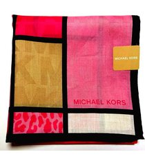 michael kors handkerchief hanky scarf bandana pink logo leopard cotton auth new