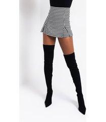 akira gingham double slit mini skirt
