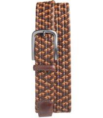 men's big & tall torino woven belt, size 46 - brown/ tan/ cognac