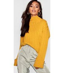 petite rib knit high neck sweater, mustard