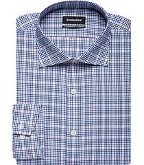 esquire blue & pink plaid slim fit dress shirt