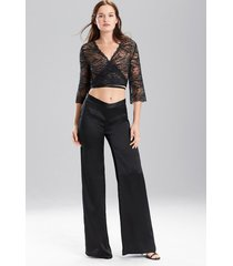 key wide leg pants pajamas / sleepwear / loungewear, women's, white, 100% silk, size xl, josie natori