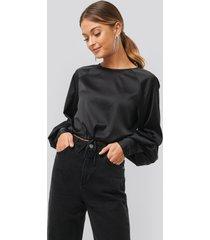 na-kd party drawstring detail satin blouse - black