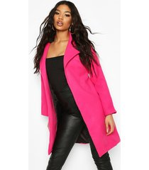 collared wool look coat, hot pink