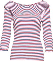 feminine striped rib tee with special collar t-shirts & tops long-sleeved rosa scotch & soda