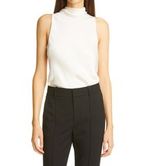 women's vince draped turtleneck sleeveless bodysuit, size x-large - ivory