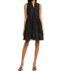 women's chelsea28 split neck rumpled satin dress, size x-large - black